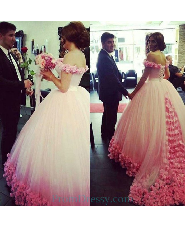 Red And White Ball Gown Wedding Dress: Tulle Off The Shoulder Ball Gown Pink ANd White Wedding
