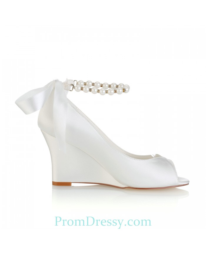 ca6aa11d374 Peep Toe Satin Wedge Wedding Dress Shoes With Pearls Ankle Strap