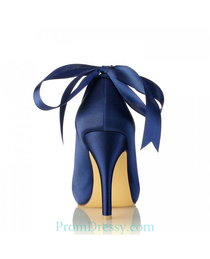 Satin Platform Peep Toe Navy Blue Prom Evening Shoes With