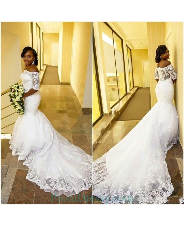 Tulle Off The Shoulder Plus Size Mermaid Wedding Dress With ...