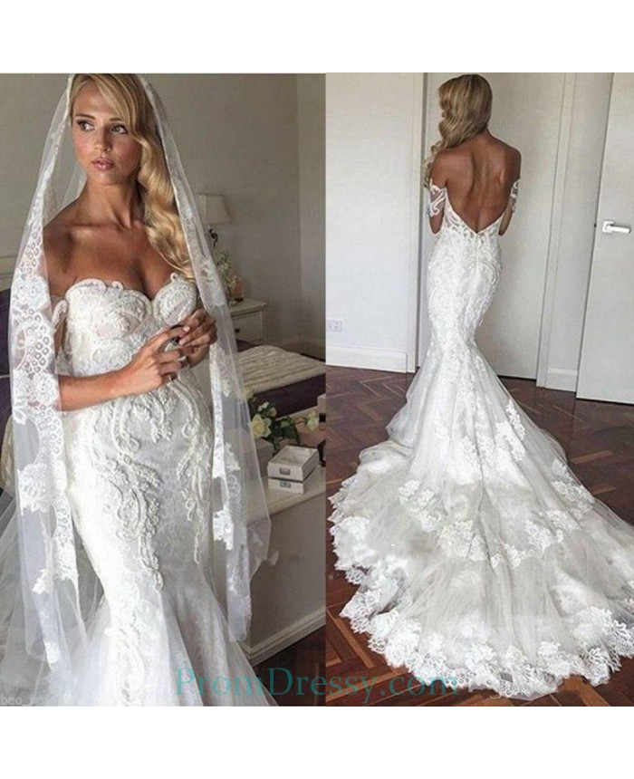 260f4fbd2c6 Cathedral Train Off The Shoulder Lace Mermaid Wedding Dresses For Short  Girls