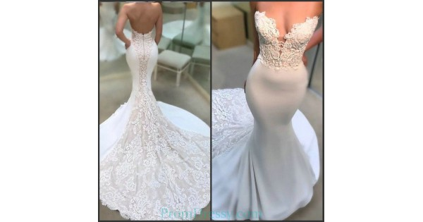 Low Cut Back Strapless Lace Appliqued Sexy Wedding Dress