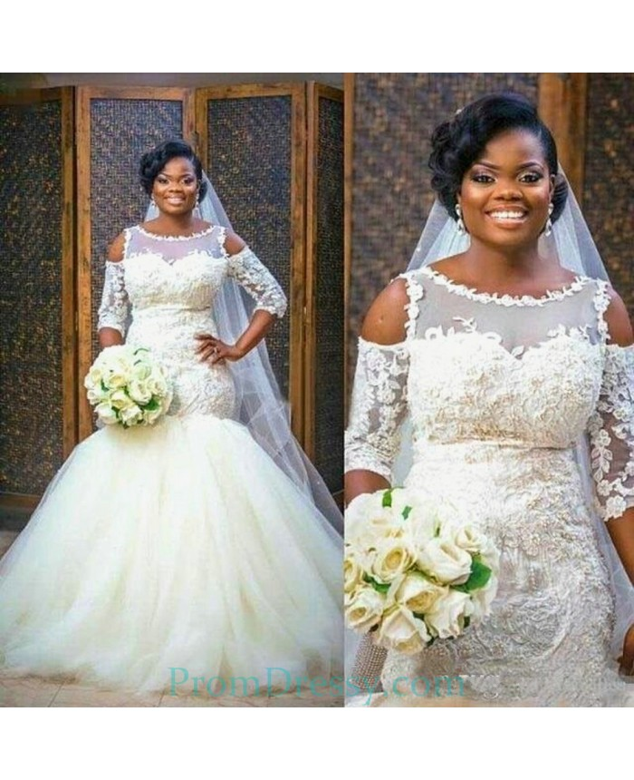 Nigerian Wedding Gowns: Organza Cold Shoulder Memaid Bride Gowns With Lace