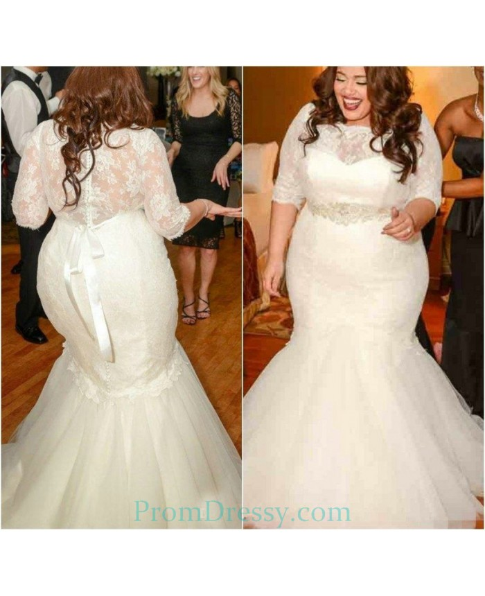 Organza Lace Mermaid Long Sleeves Wedding Dress Plus Size