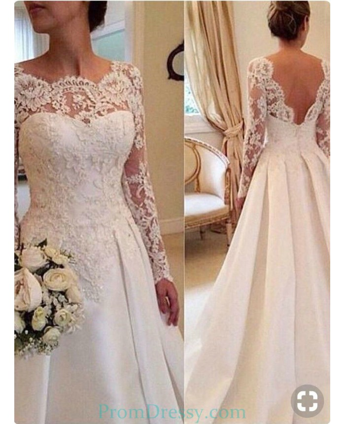 Satin V Back Lace Top Long Sleeves Classic Wedding Gown Trouwjurk Kant Lange Mouw