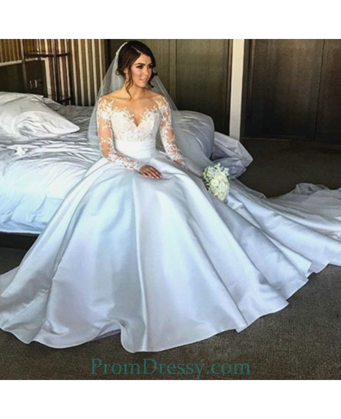 Sheer Long Sleeves Off The Shoulder Satin Ball Gown Wedding Dresses