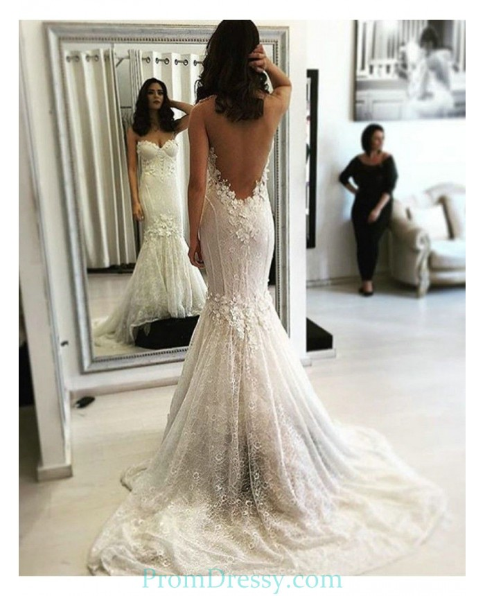Abiti Da Sposa In Pizzo.Sweetheart Backless Lace Mermaid Wedding Dress With Small Flowers