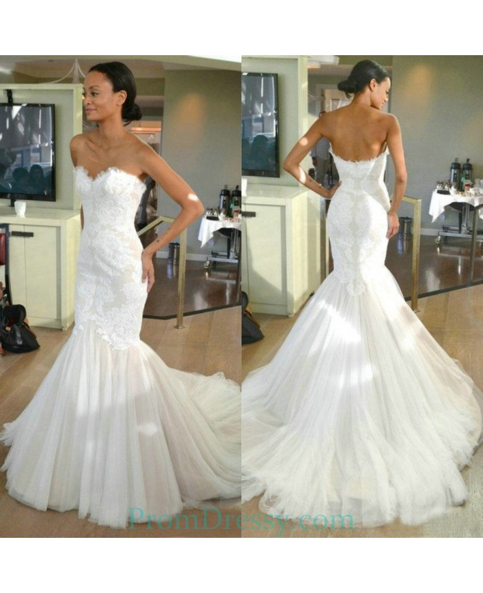 Lace Mermaid Wedding Gown With Tulle Skirt: Sweetheart Beautiful Lace Tulle Mermaid Wedding Dress