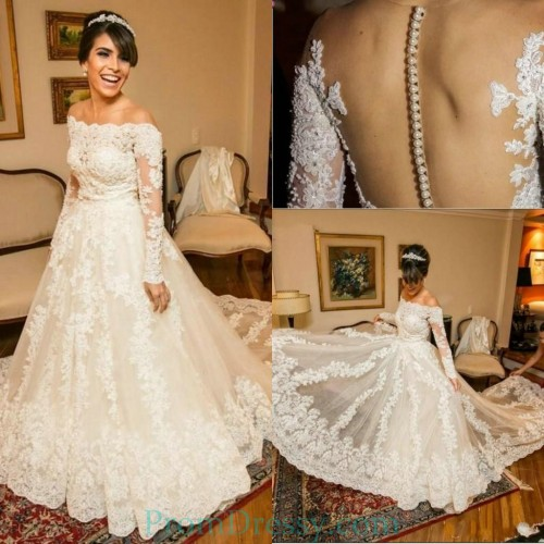 4c7dbb557496 Tulle Long Sleeves Off The Shoulder Lace Ball Gowns For Bride