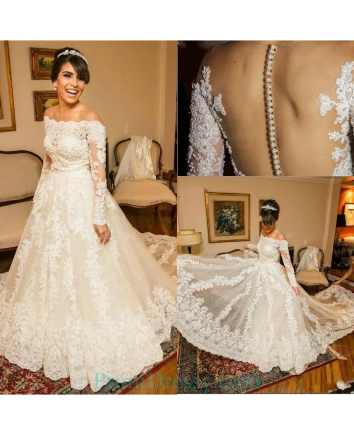 33af255a7fb Tulle Long Sleeves Off The Shoulder Lace Ball Gowns For Bride
