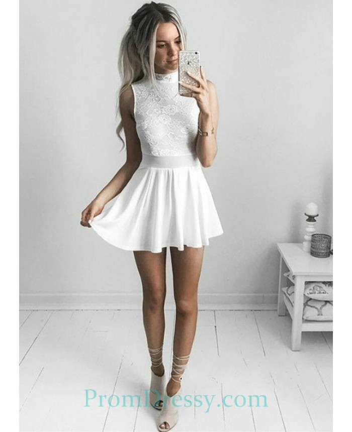 High Neck White Lace Short Prom Dress