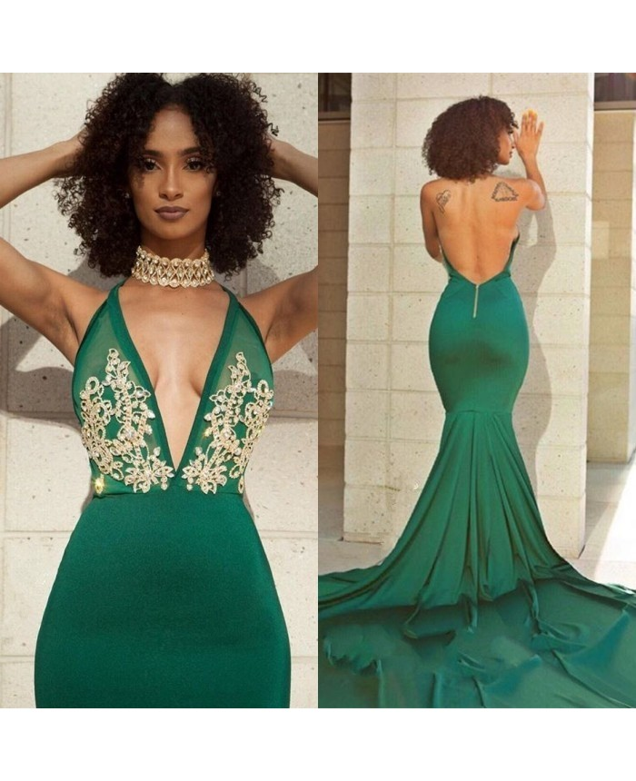 7a970e9e36 Green Sexy Low Cut Evening Gown Backless Mermaid Prom Dress With Lace