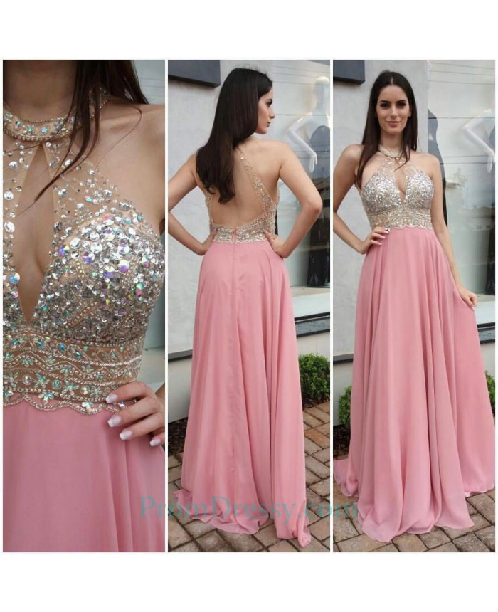 40923d8092 Crystal Beaded Backless Evening Gown Pink Halter Prom Dresses