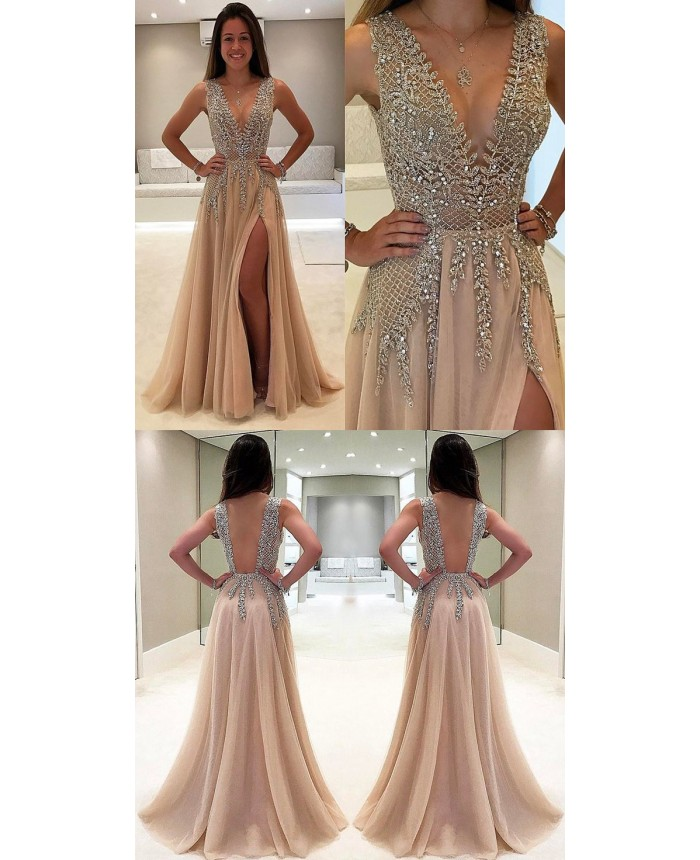 3401ff38c5183 Tulle V Neck Low Cut Evening Dresses Champagne Prom Dress vestidos fiesta  noche 2018