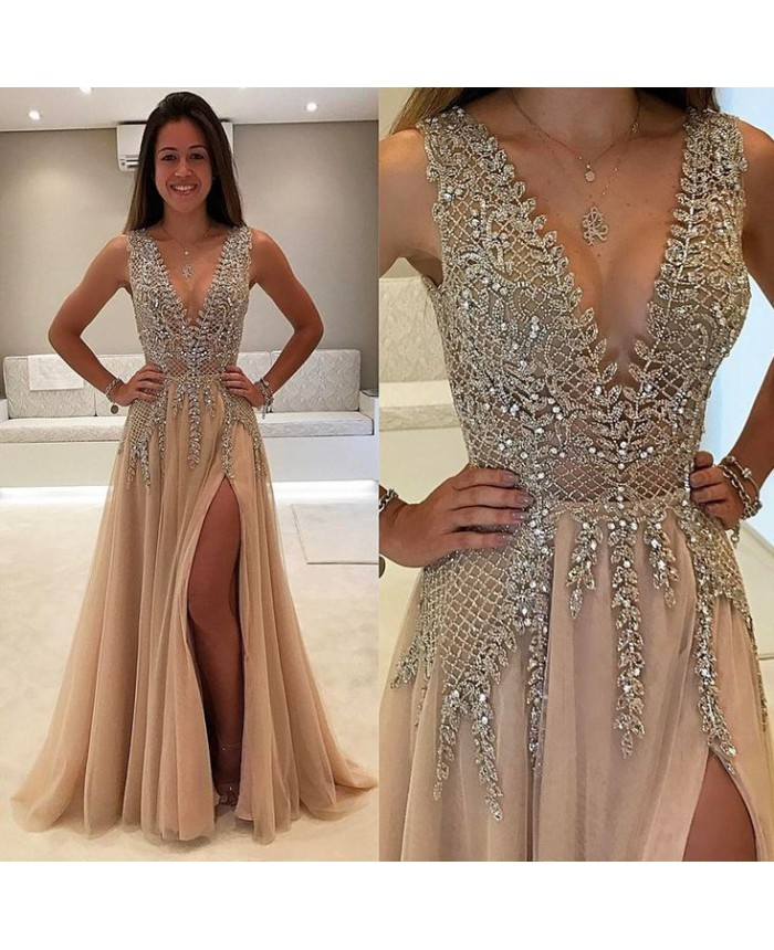 Tulle V Neck Low Cut Evening Dresses Champagne Prom Dress