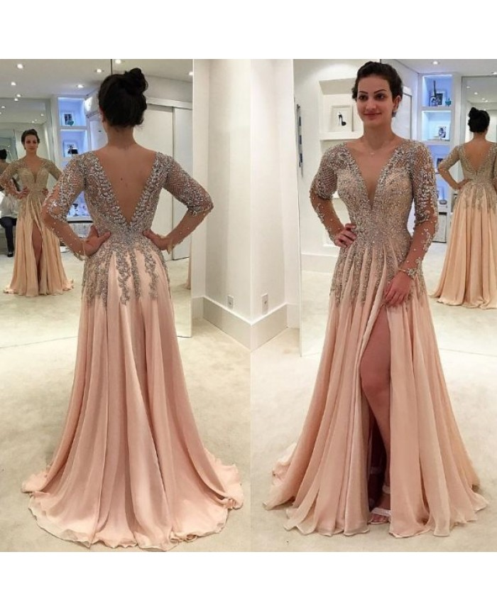 V Neck Chiffon Nude Pink Prom Dress High Slit Evening