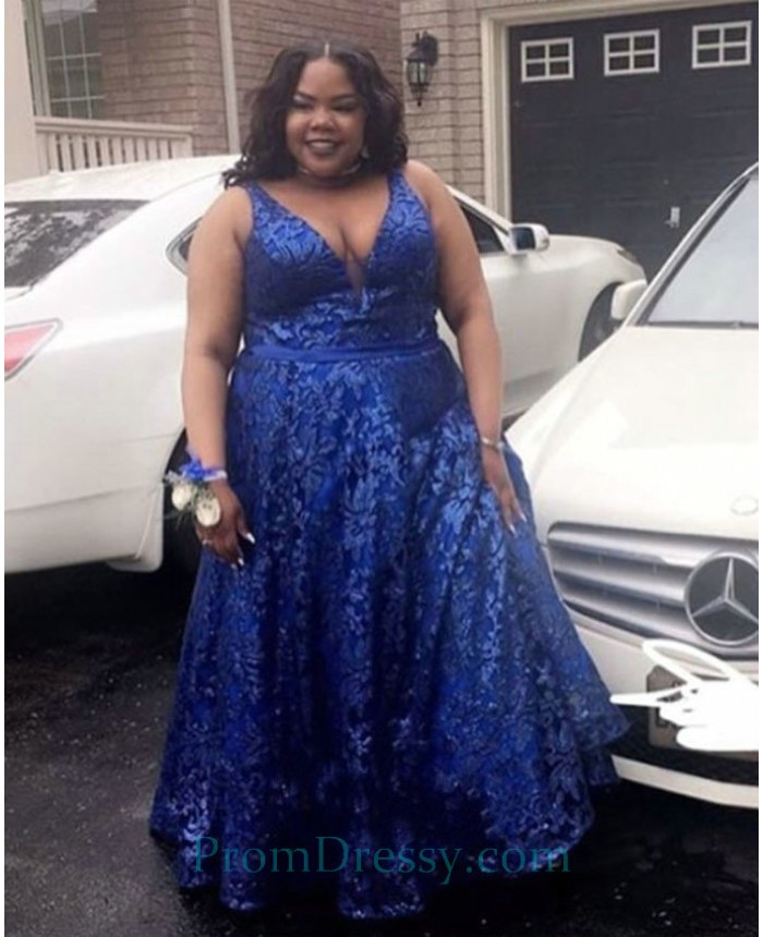 A Line Low Cut Lace Royal Blue Plus Size Prom Dress