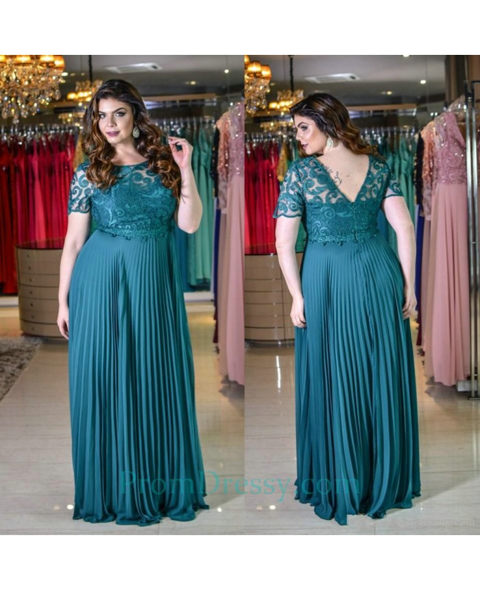 Pleated Chiffon Long Plus Size Prom Dresses With Short Sleeves