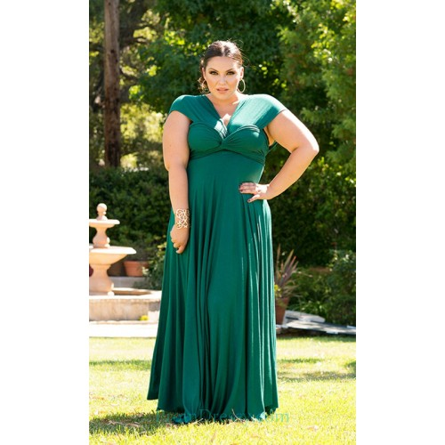 f2a76a68855 Pleated Jersey Green Plus Size Evening Dresses robes tres grande taille