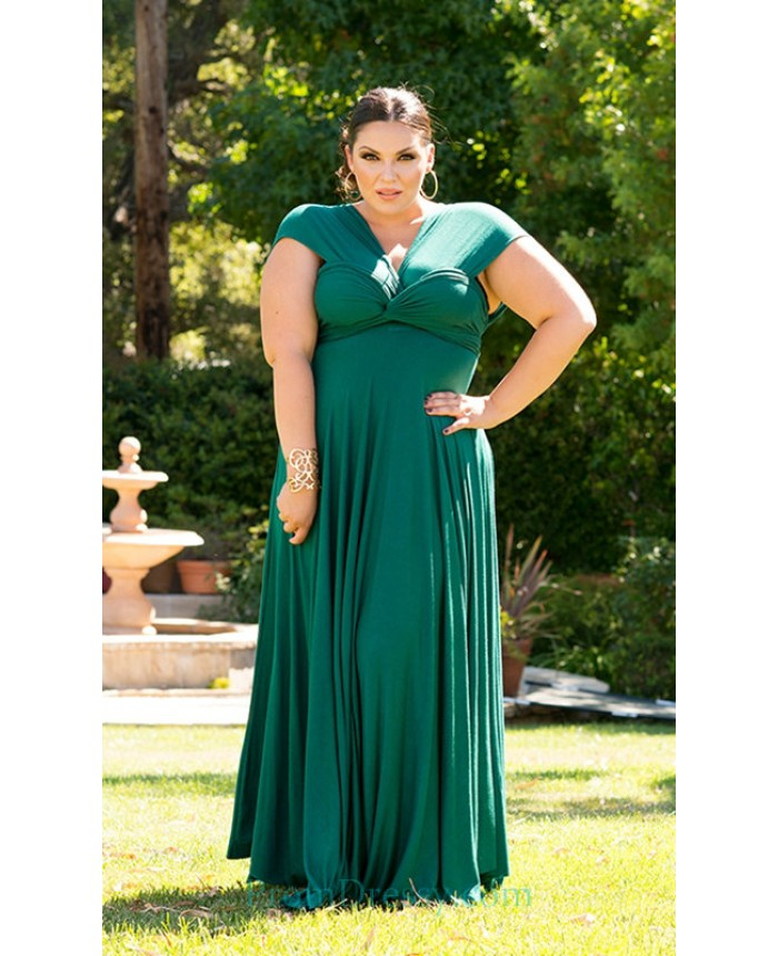 Pleated Jersey Green Plus Size Evening Dresses robes tres grande taille