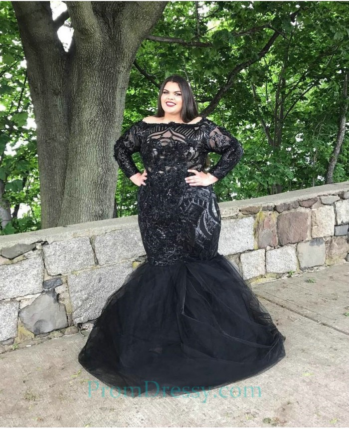 Portrait Neckline Mermaid Black Plus Size Prom Dresses With Long Sleeves