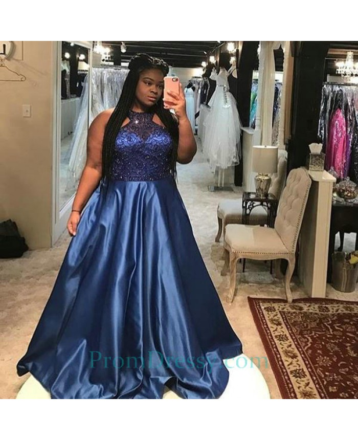 b59393c5885 Satin Sequin Beaded Royal Blue Prom Dresses Plus Size