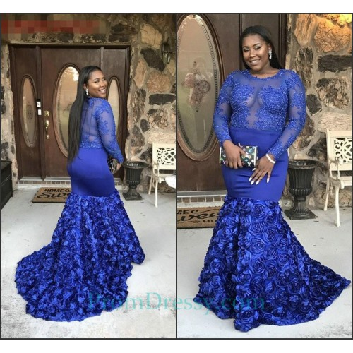 bbc3b2bb130 Scoop Royal Blue Long Sleeves Prom Dresses For Plus Size Girls