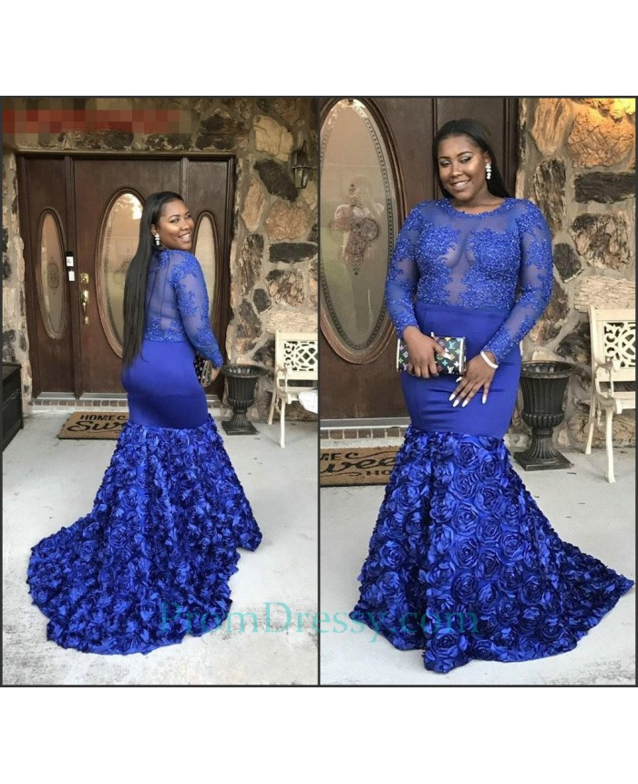 Scoop Royal Blue Long Sleeves Prom Dresses For Plus Size Girls