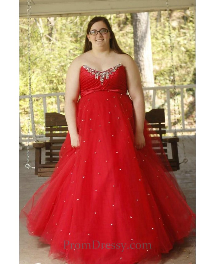 Sweetheart Tulle Ball Gown Red Prom Dresses Plus Size