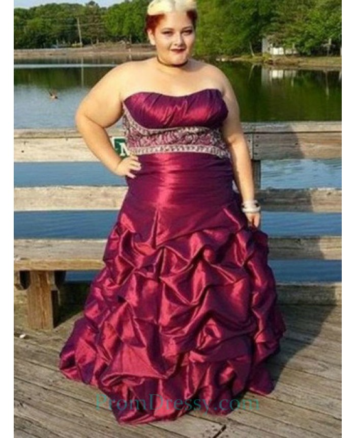Taffeta Pick Ups Strapless Burgundy Plus Size Prom Dress