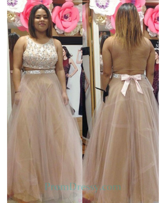 Tulle Beaded Champagne Two Piece Plus Size Prom Dress With Open Back