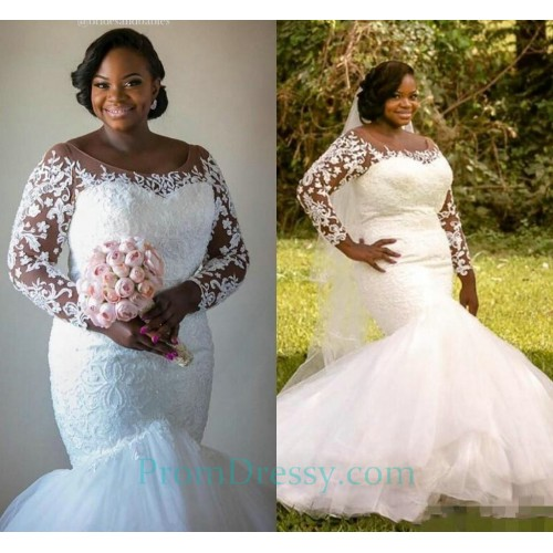 b01a5c5274c Tulle Lace Appliqued Plus Size Mermaid Wedding Dress With Long Sleeves