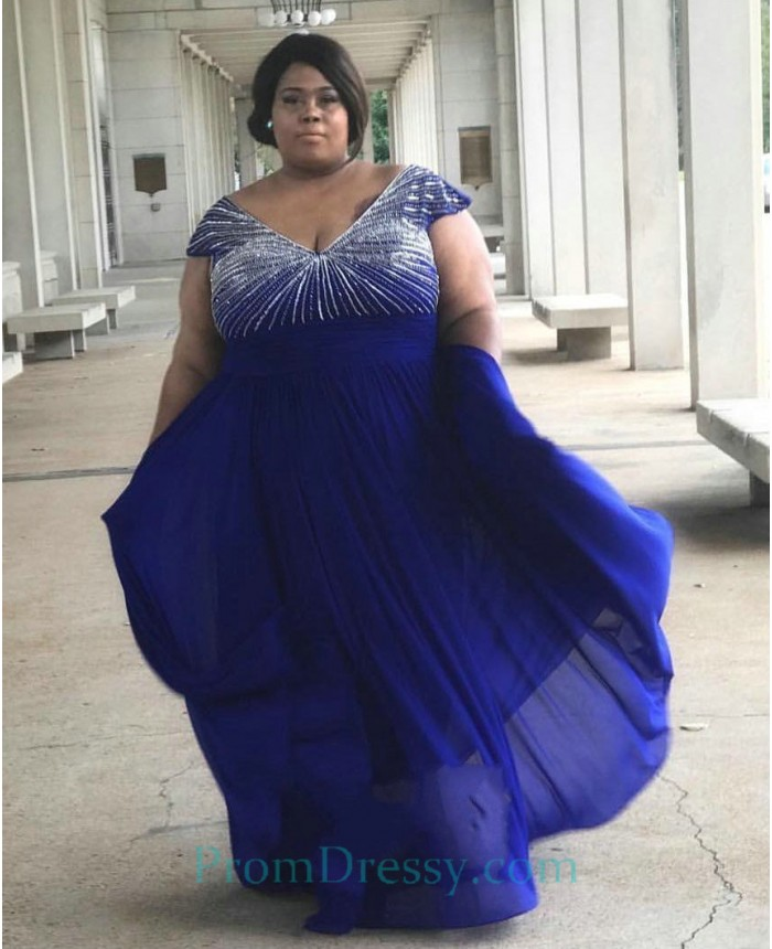 V Neck Beaded Royal Blue long Plus Size Prom Dresses With Sleeves