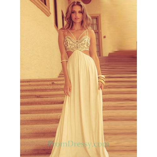 9f1e800bd54 A Line Beige Chiffon Cut Out Prom Dress With Embroidery Details