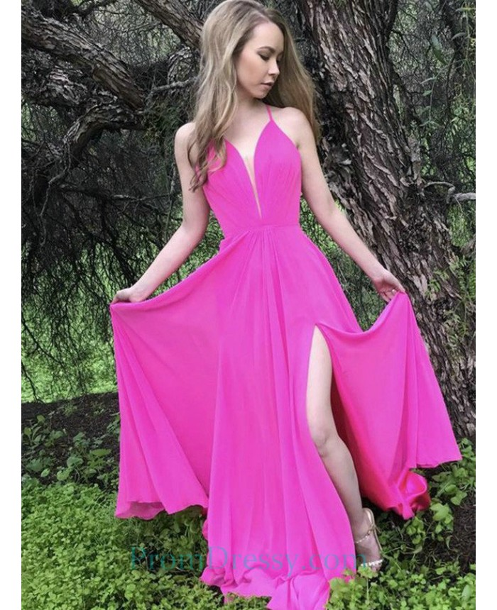 2db32b8997 A Line Deep V Neck Split Criss Cross Straps Hot Pink Prom Dress With Open  Back