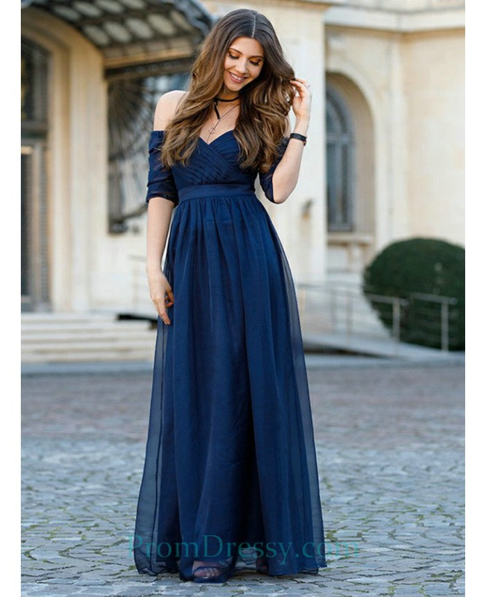 5c9b0d2f62a12 A Line Off The Shoulder Floor Length Royal Blue Chiffon Prom Dress With  Half Sleeves