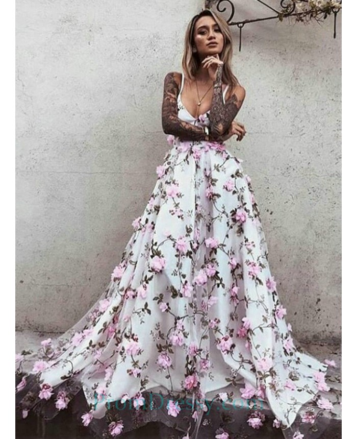 0a14cf1ef3c4 A Line Spaghetti Floral Spring Prom Dresses With Print Flowers