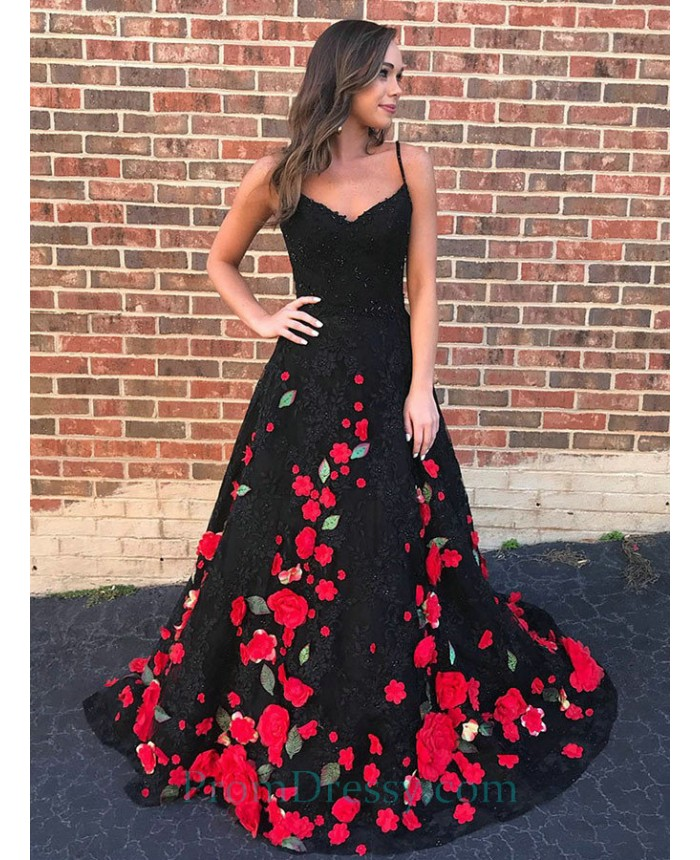 ac81d38e1d4b A Line Sweetheart Black Lace Evening Prom Dress With Red Flowers Appliques