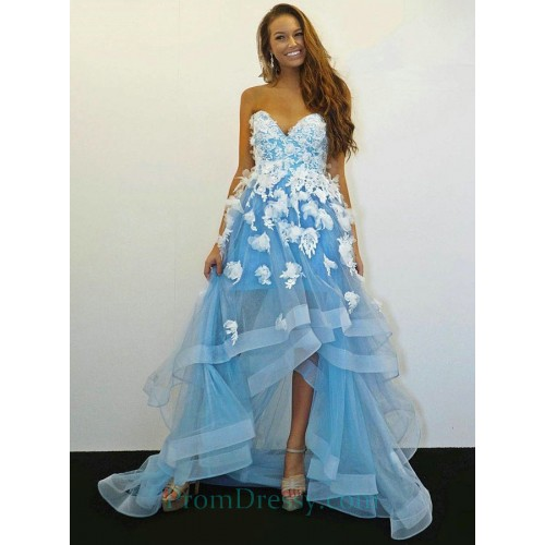 5566d7ae391 A Line Sweetheart High Low Blue Prom Dress With Appliques Beading Ruffles  Homecoming Dress