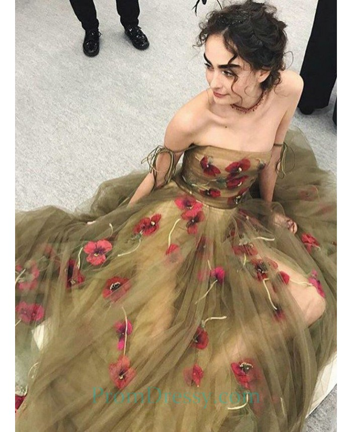Floor Length Ball Gown Tulle Green Prom Dresses With Floral Flowers