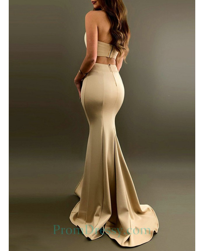 strapless sexy champagne two piece prom dress with high slit