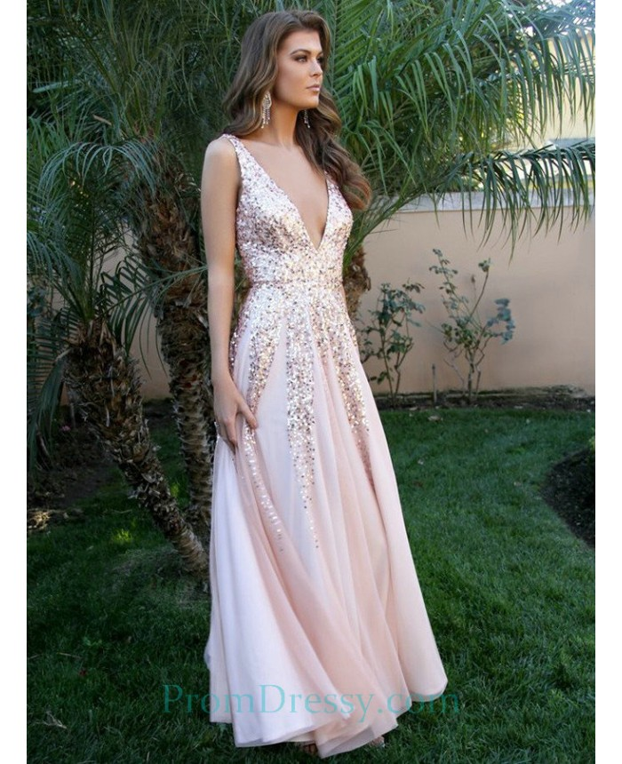 V Neck A Line Low Cut Blush Sexy Sequin Prom Dresses ecf47068b