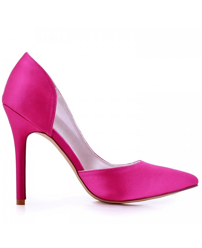 67009ef5d27b Pointed Toe Ultra High Heel Satin Fuchsia Evening Prom Shoes Hot Pink
