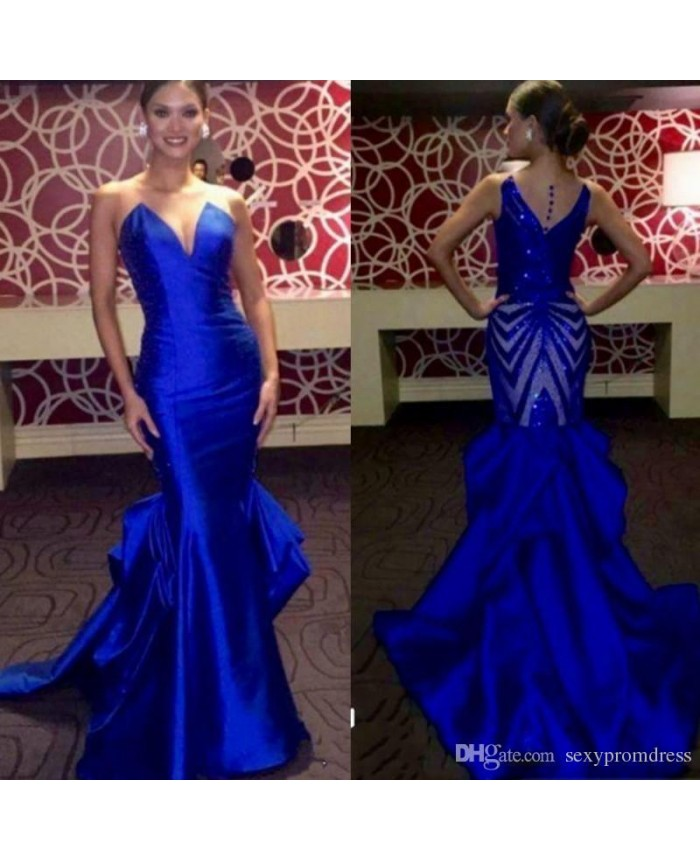 adc76049b21c V Back V Neck Strapless Royal Blue Mermaid Evening Formal Dresses With Beautiful  Back
