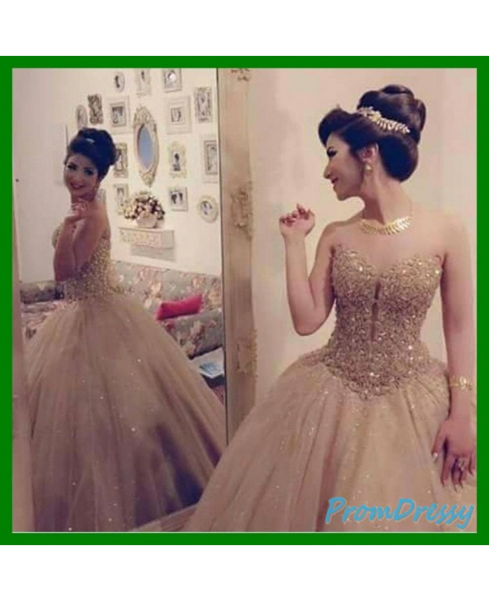 4e85f91b5 Tulle Sequin Sweetheart Gold Ball Gown Prom Evening Dresses Major Beading