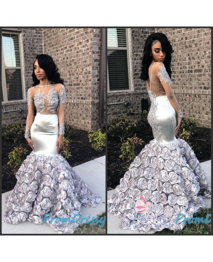 5d6d4f503570 V Back Sweep Train Illusion High Neck Silver Floral Rosette Mermaid Evening  Formal Dresses