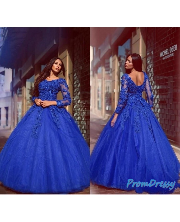 3838be962ef V Neck Small Flowers V Neck Royal Blue Long Sleeves Plus Size Ball Gown  Prom Dresses For Fat Girl