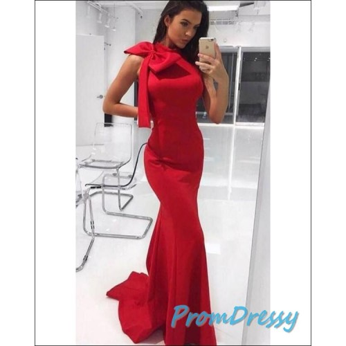 2cc2d5030b6a 2018 Elegant Red Mermaid Prom Dresses with Big Bow Sexy Evening Gowns Long