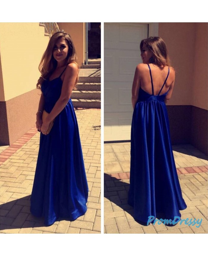 A Line Chiffon Royal Blue Simple Prom Evening Gowns Under 100