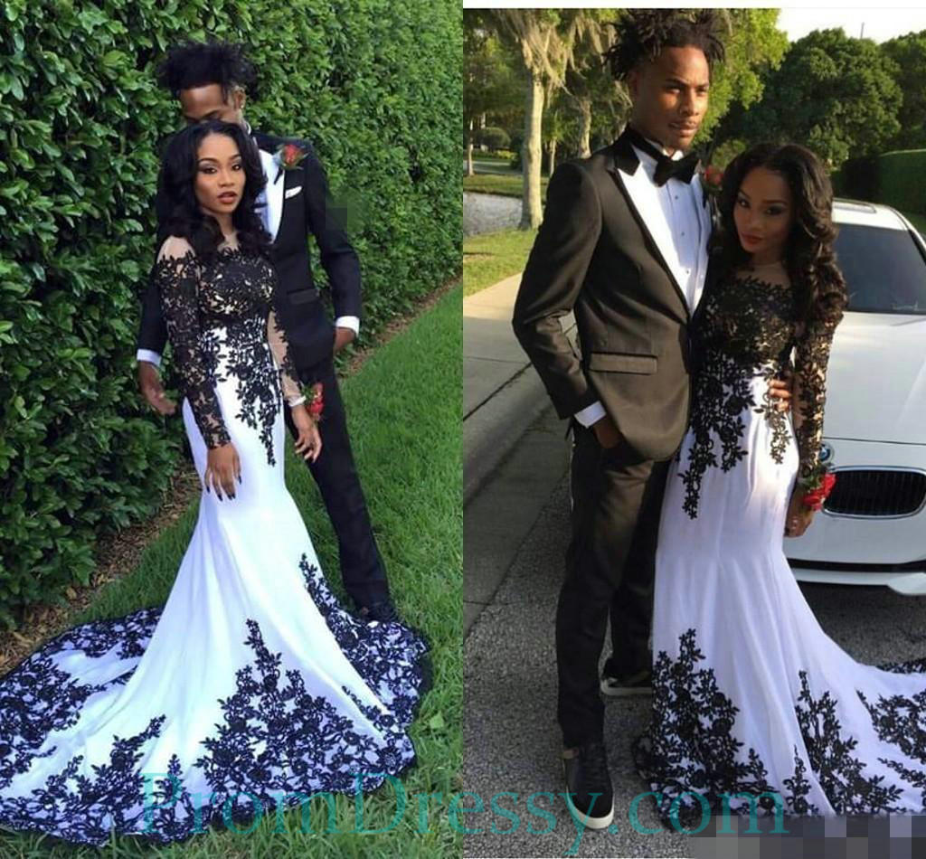 Black And White Off The Shoulder Long Sleeves Black People Prom